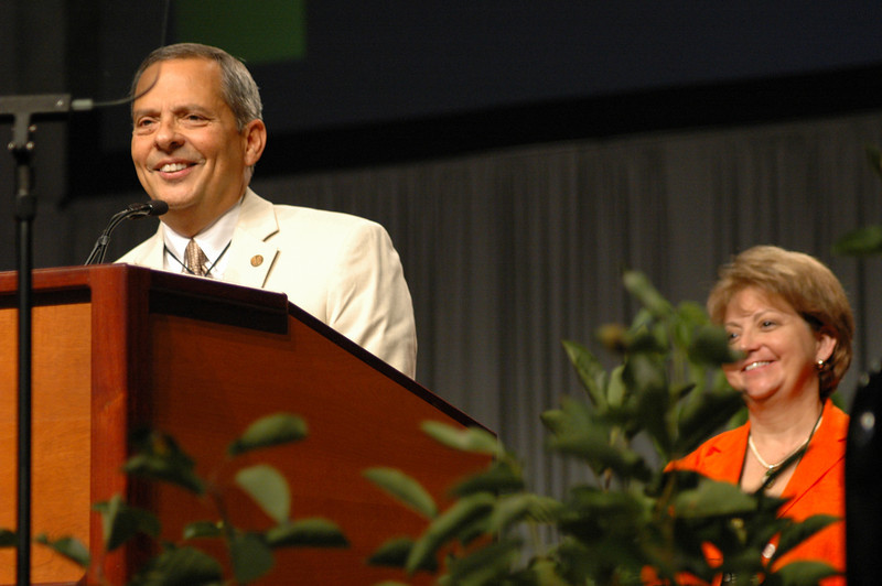 "With his wife Diane looking on, Carlos Peña smiles on stage after being re-elected as Vice-President of the Evangelical Lutheran Church in America. Voting members at the 2009 Churchwide Assembly returned to office its incumbent vice present, Carlos Peña of Galveston, Texas. Responding to his re-election, Peña said, ""I've been incredibly blessed. This is a call from God. Thank you. I'm going to need your prayers."""
