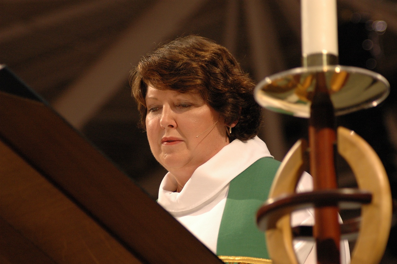 The Rev. Chrysanne Timm preaches at Friday's worship.