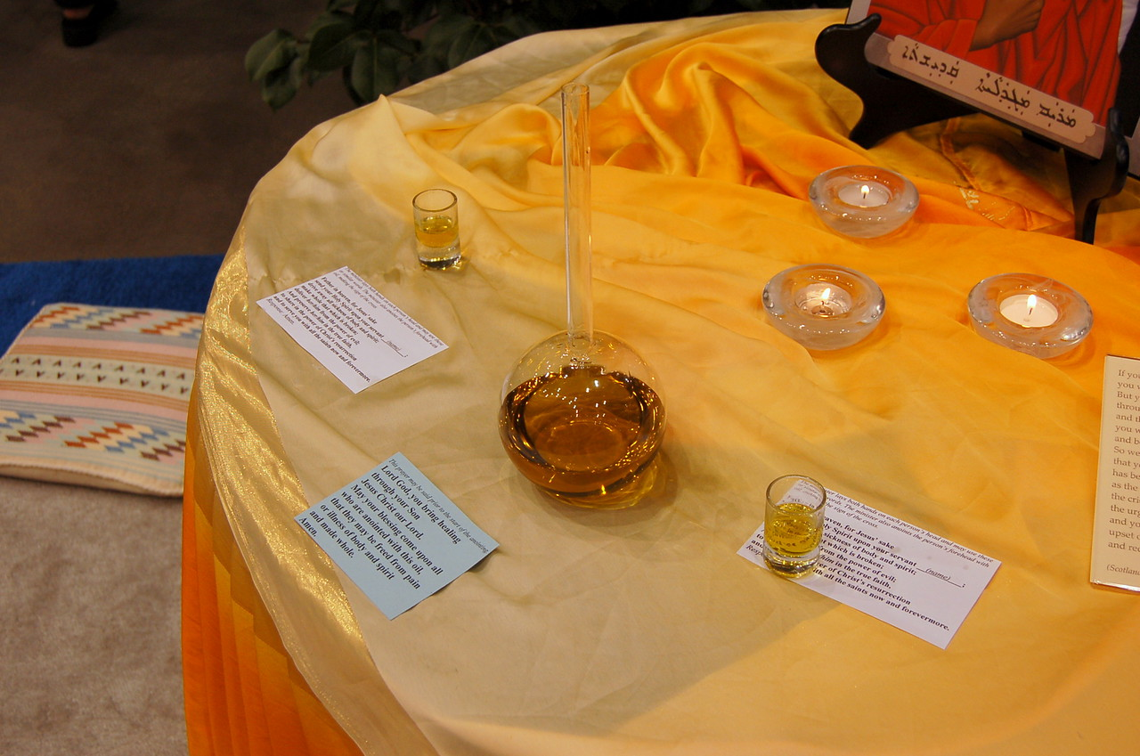 The chrism oil used during Friday's worship service.