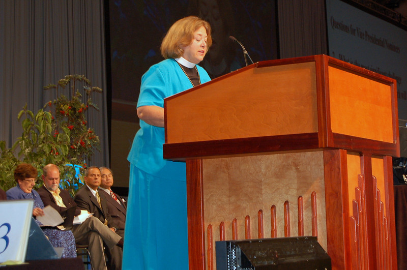 The Rev. Susan Langhauser, nominee for the office of Vice-President of the Evangelical Lutheran Church in America, speaks during plenary session nine.