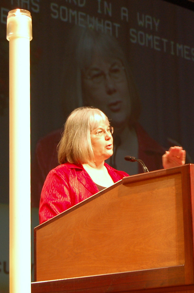 The Rev. Rebecca Larson, executve director, ELCA Church in Society program unit, clarifies a point to the 2009 ELCA Churchwide Assembly.