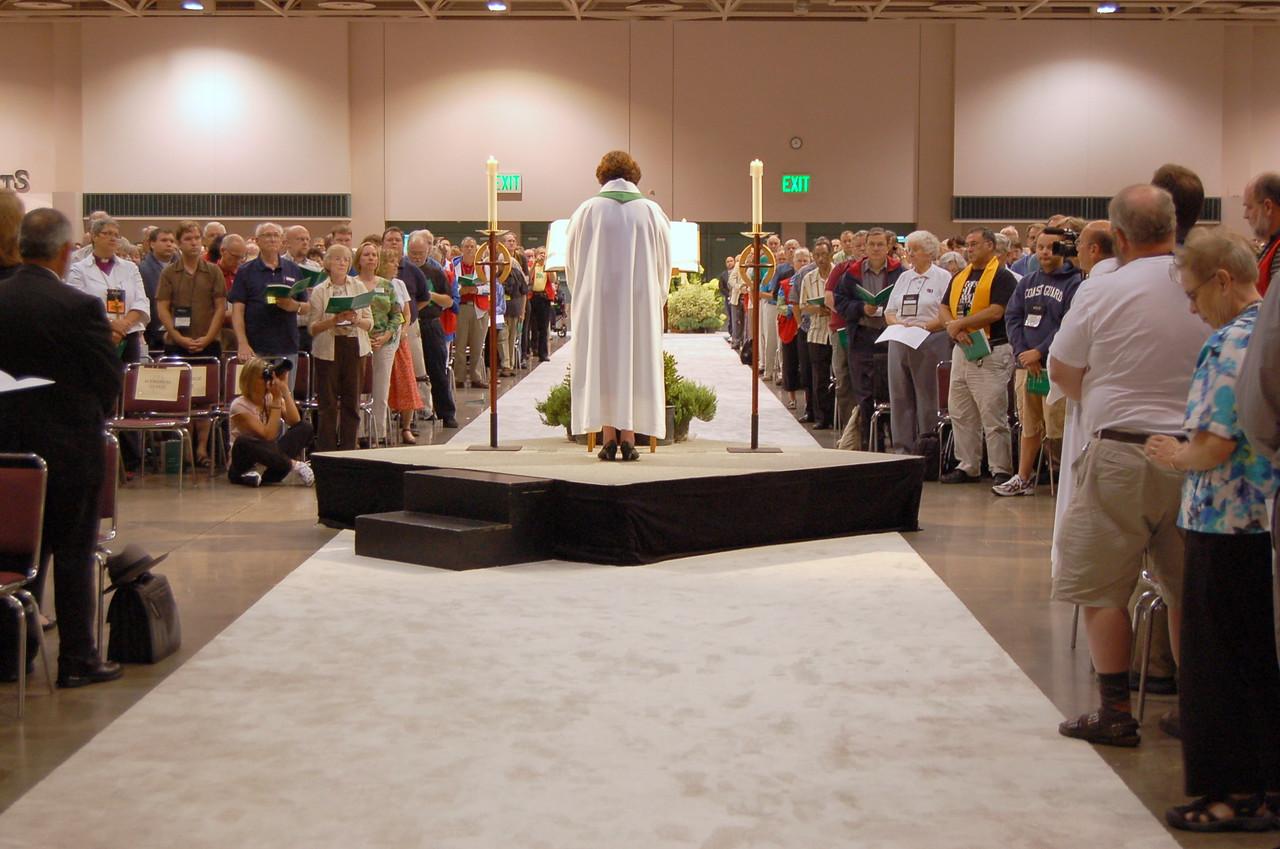 Pr. Chrysanne Timm, Sylvania, Ohio, reads the gospel, John 15:9-17.
