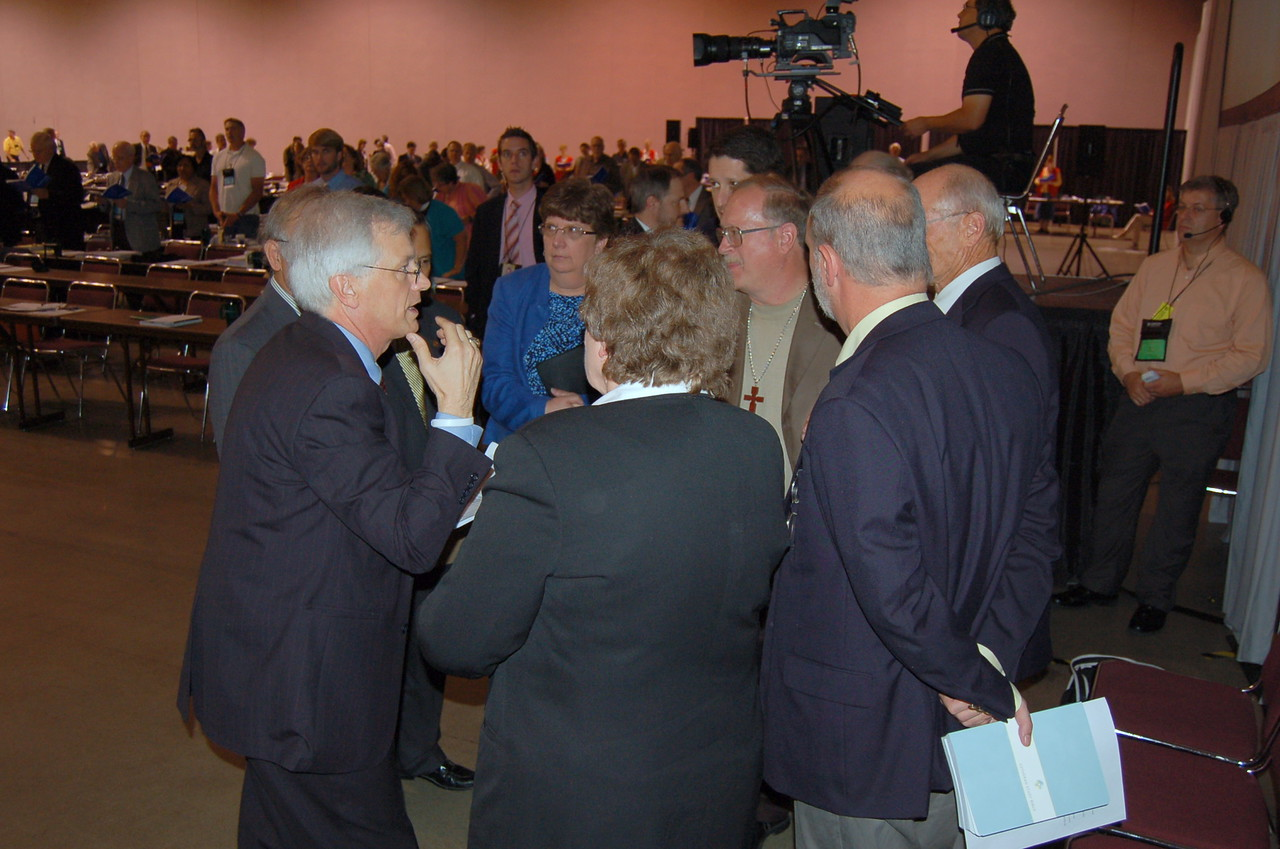 Behind the scenes during plenary session nine.