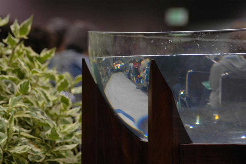 A view of worship through the baptismal font.