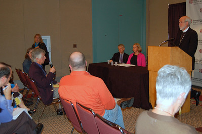 Christian century reporter asks Presiding Bishop Hanson a question about the recent vote.