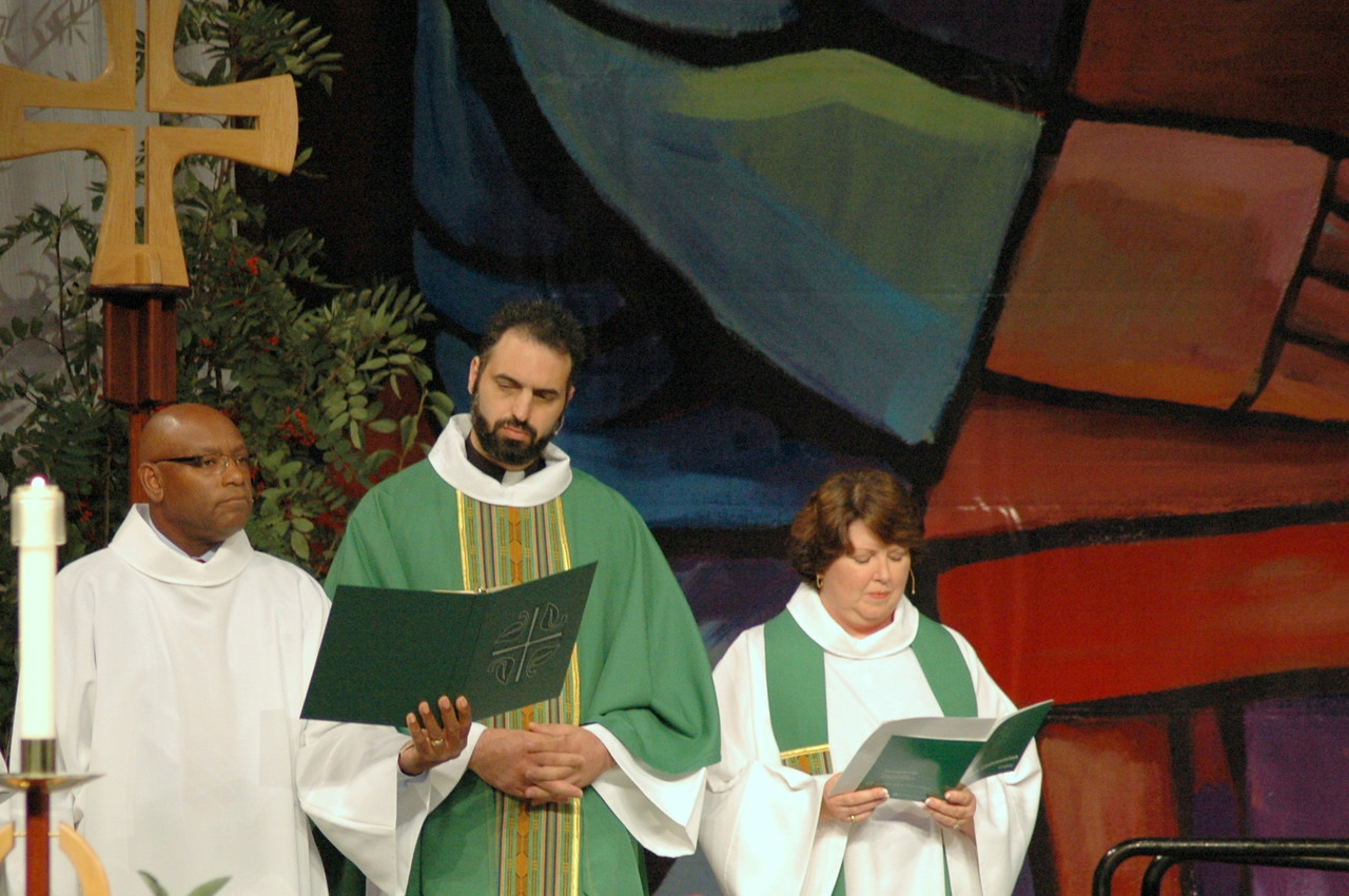 Mr. William Horne, assisting minister, the Rev. Rani Abdulmasih, presiding minister, and the Rev. Chrysanne Timm, preacher.