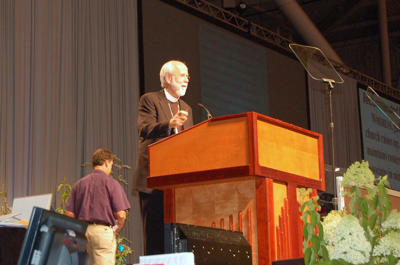 Presiding Bishop Mark S. Hanson during plenary session nine.