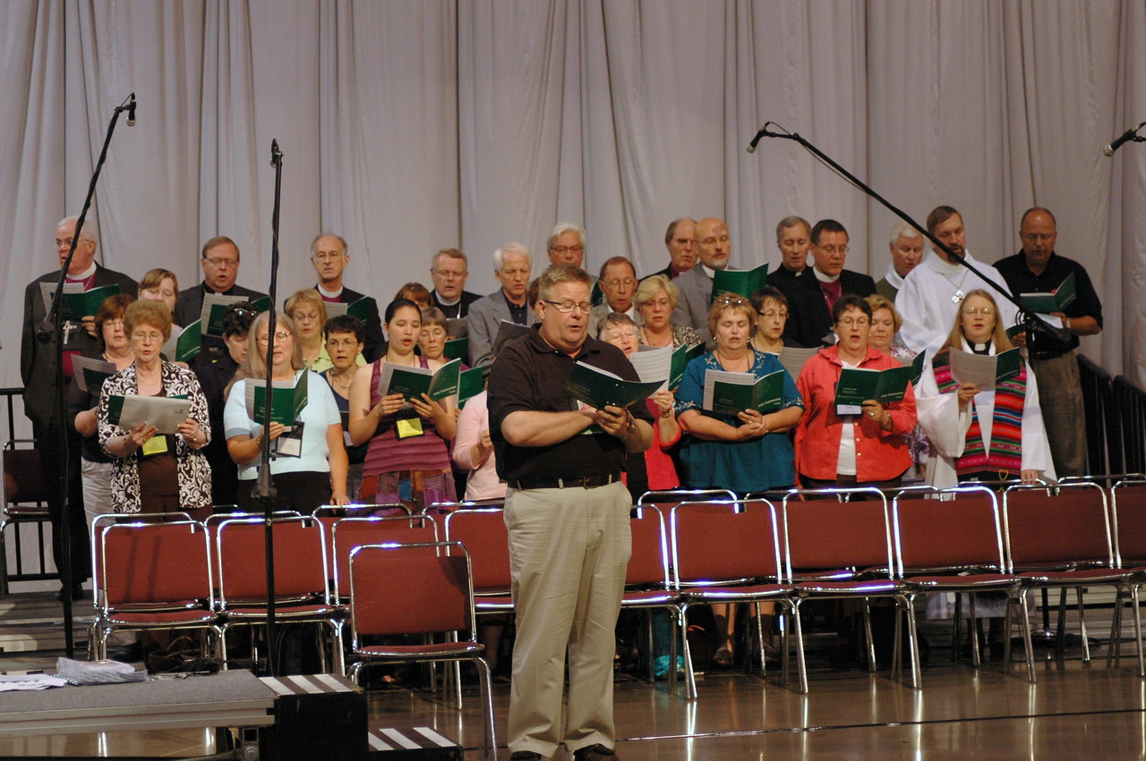 Scott Weidler, associate director for worship and music, directs the choir. Or perhaps this is the renowned Bishop Choir (see back row).