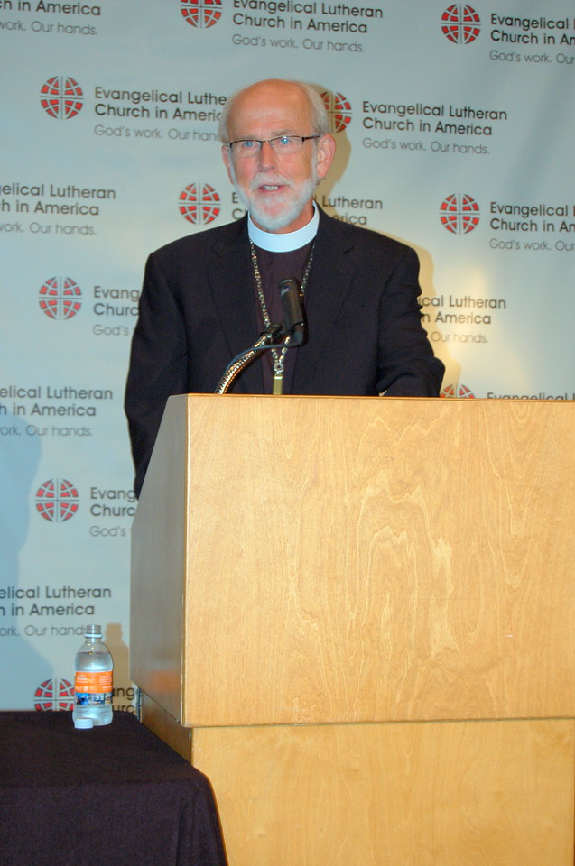 Presiding Bishop Mark S. Hanson responds to a journalist's question during the news conference.