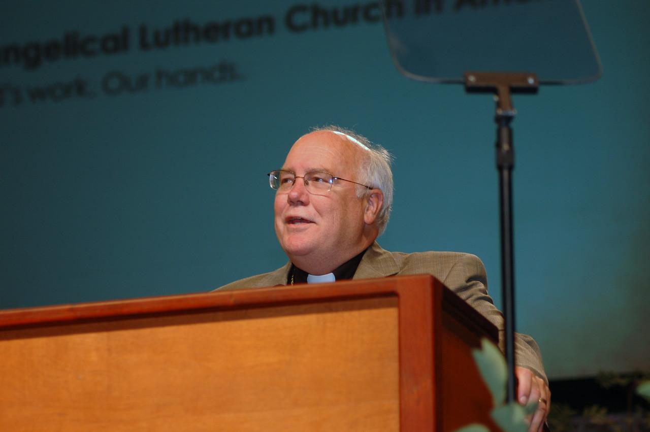 Minneapolis Area Synod Bishop Craig Johnson at plenary session one.