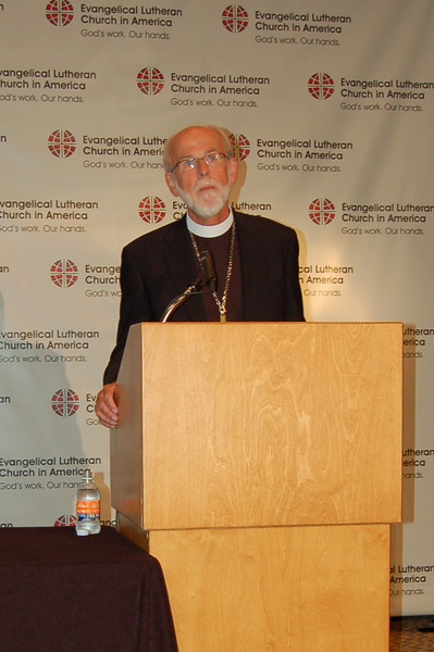 Presiding Bishop Mark S. Hanson during Monday's news conference.