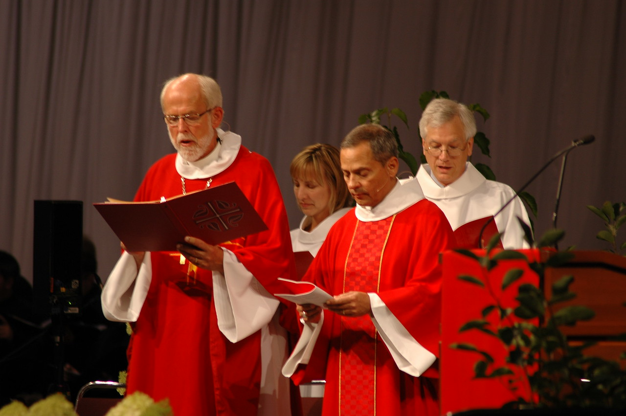 Presiding Bishop Mark S. Hanson, Treasurer  Christina Jackson-Skelton, Secretary David Swartling, and Vice-President Carlos Pena at opening worship.