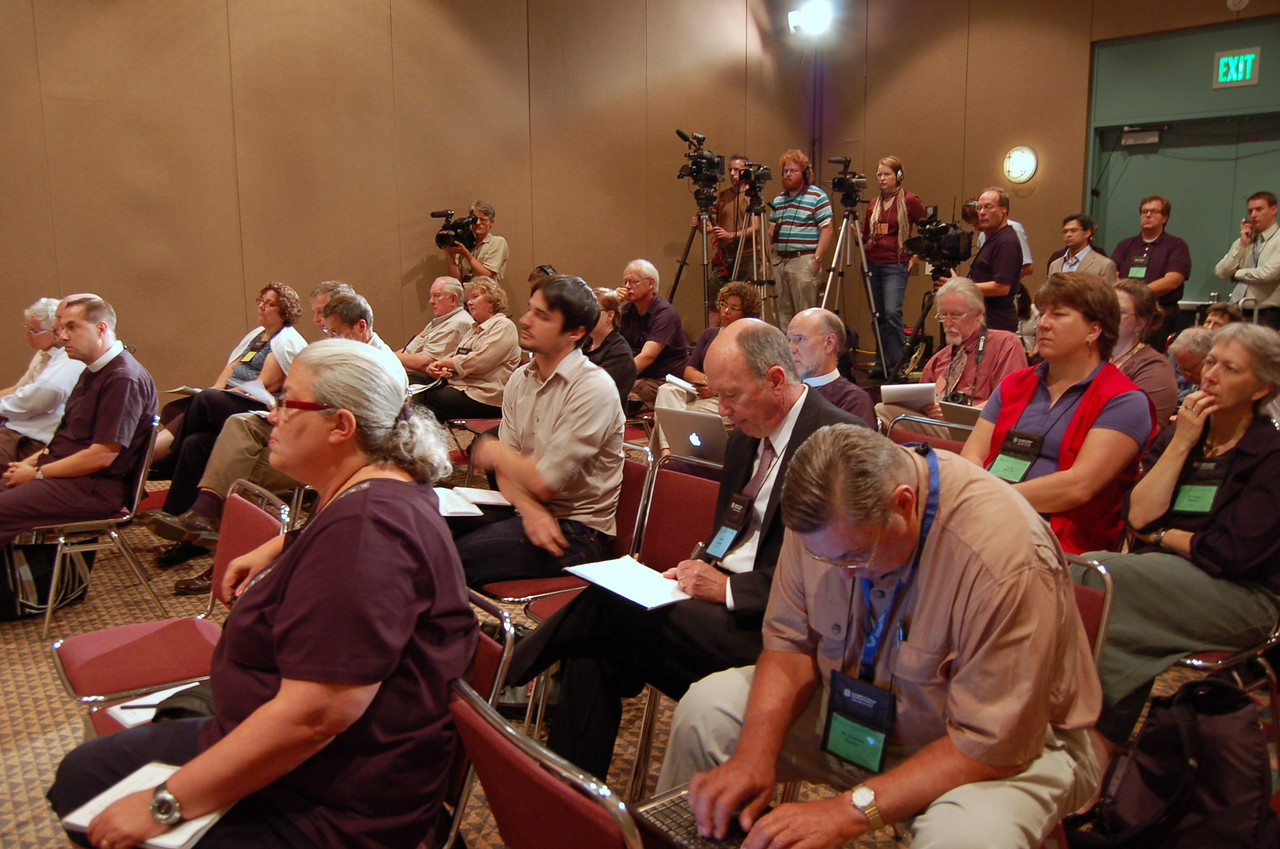 Journalists and members of the national news media at the news conference.