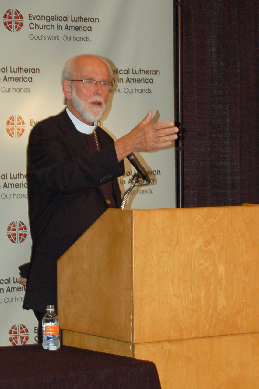 Presiding Bishop Mark S. Hanson during the news conference.