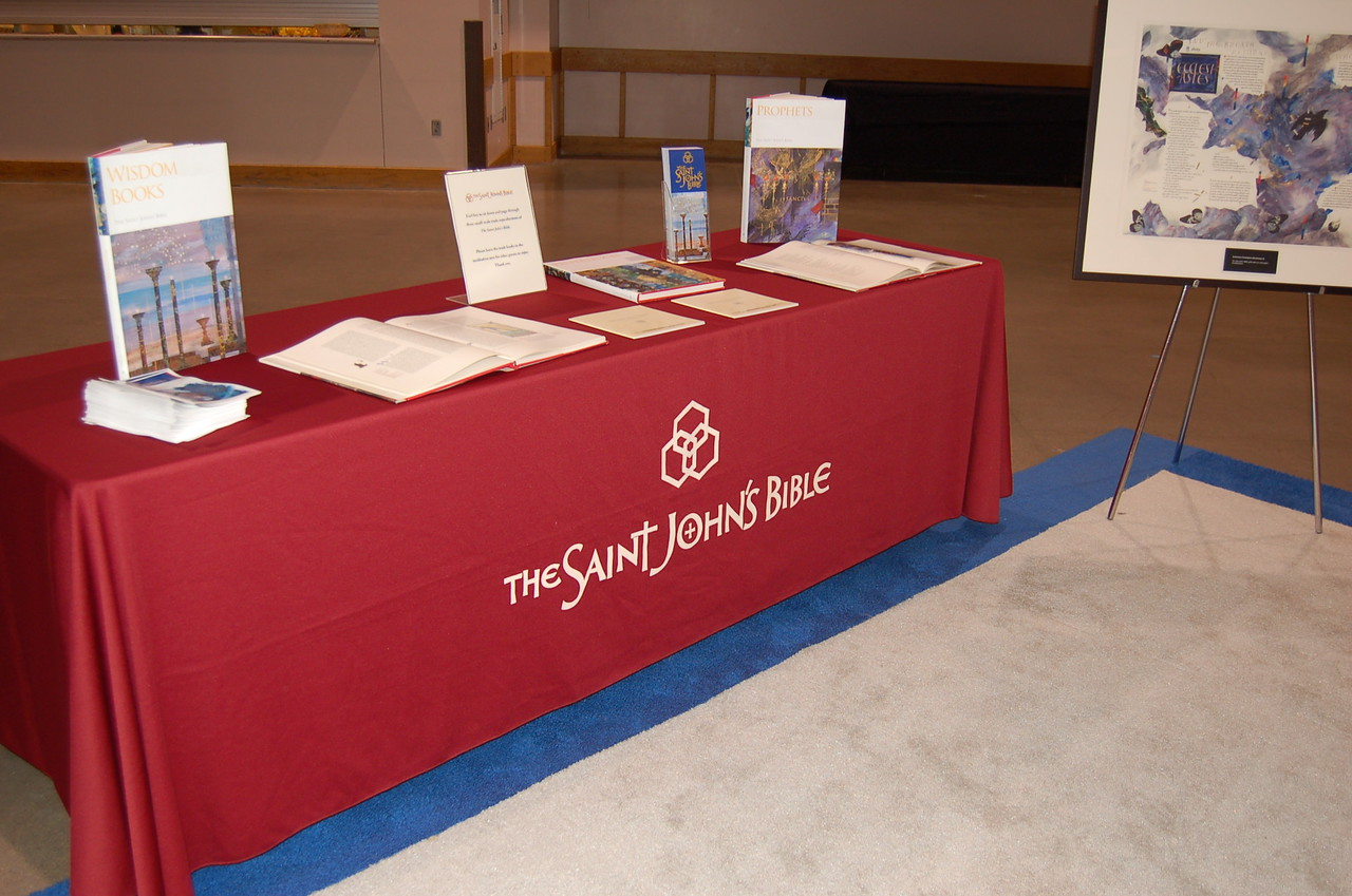 A display of the Saint John's Bible within the worship space.