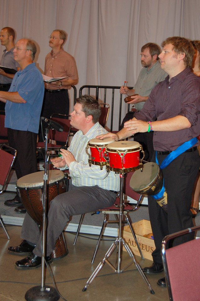 The percussion section practicing for worship.