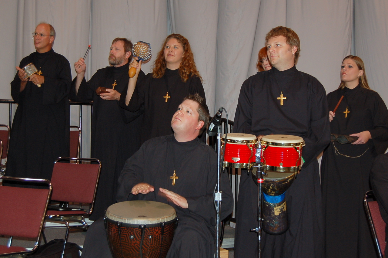 The percussion section at opening worship.