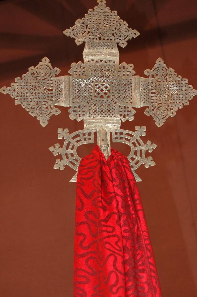 An ornate cross.