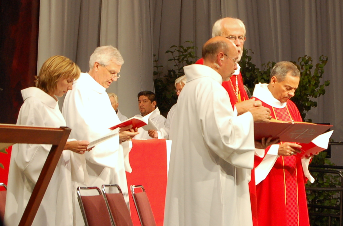 Presiding Bishop Mark S. Hanson and the three other officers at opening worship.