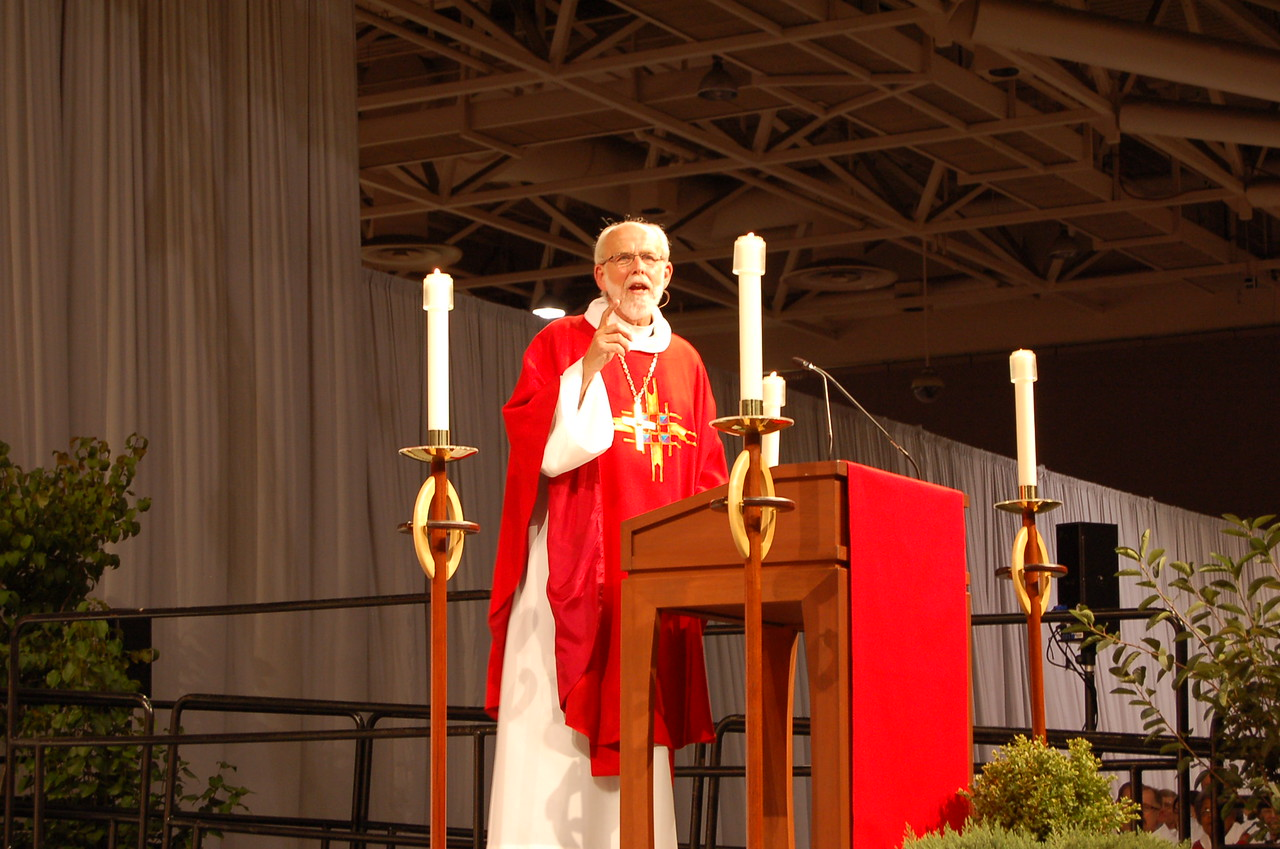 Presiding Bishop Mark S. Hanson preaches at opening worship.