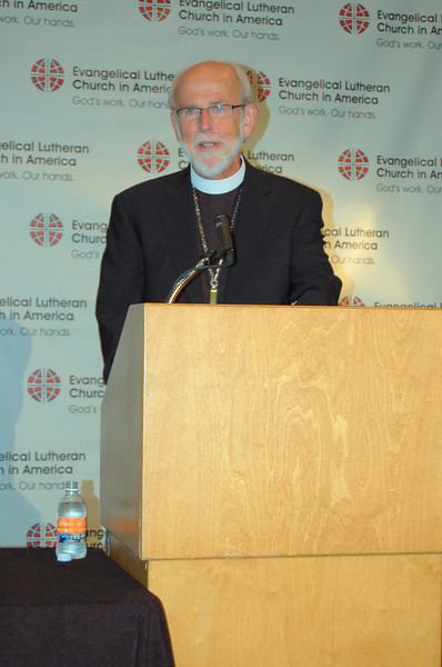 Presiding Bishop Mark S. Hanson begins the news conference with an opening statement.