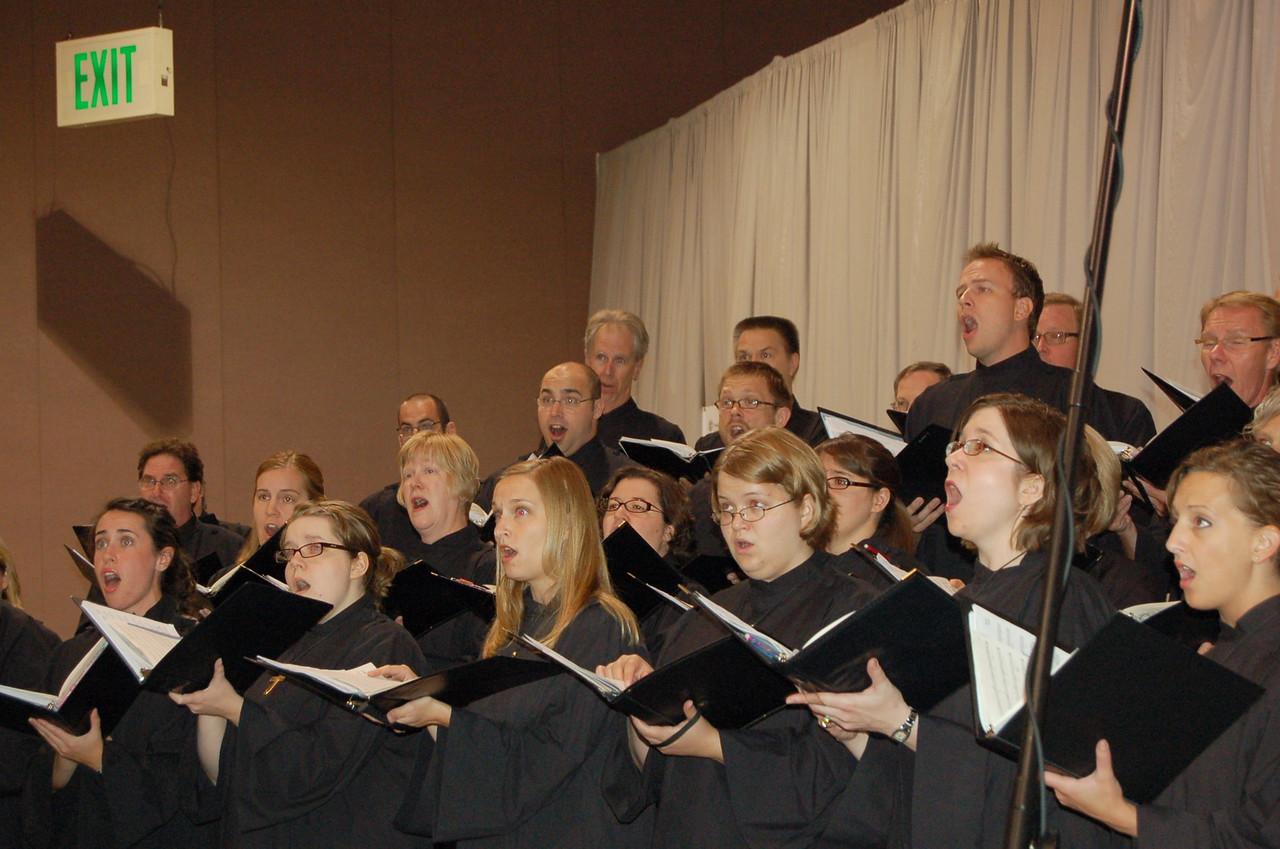 The choir preparing for opening worship.