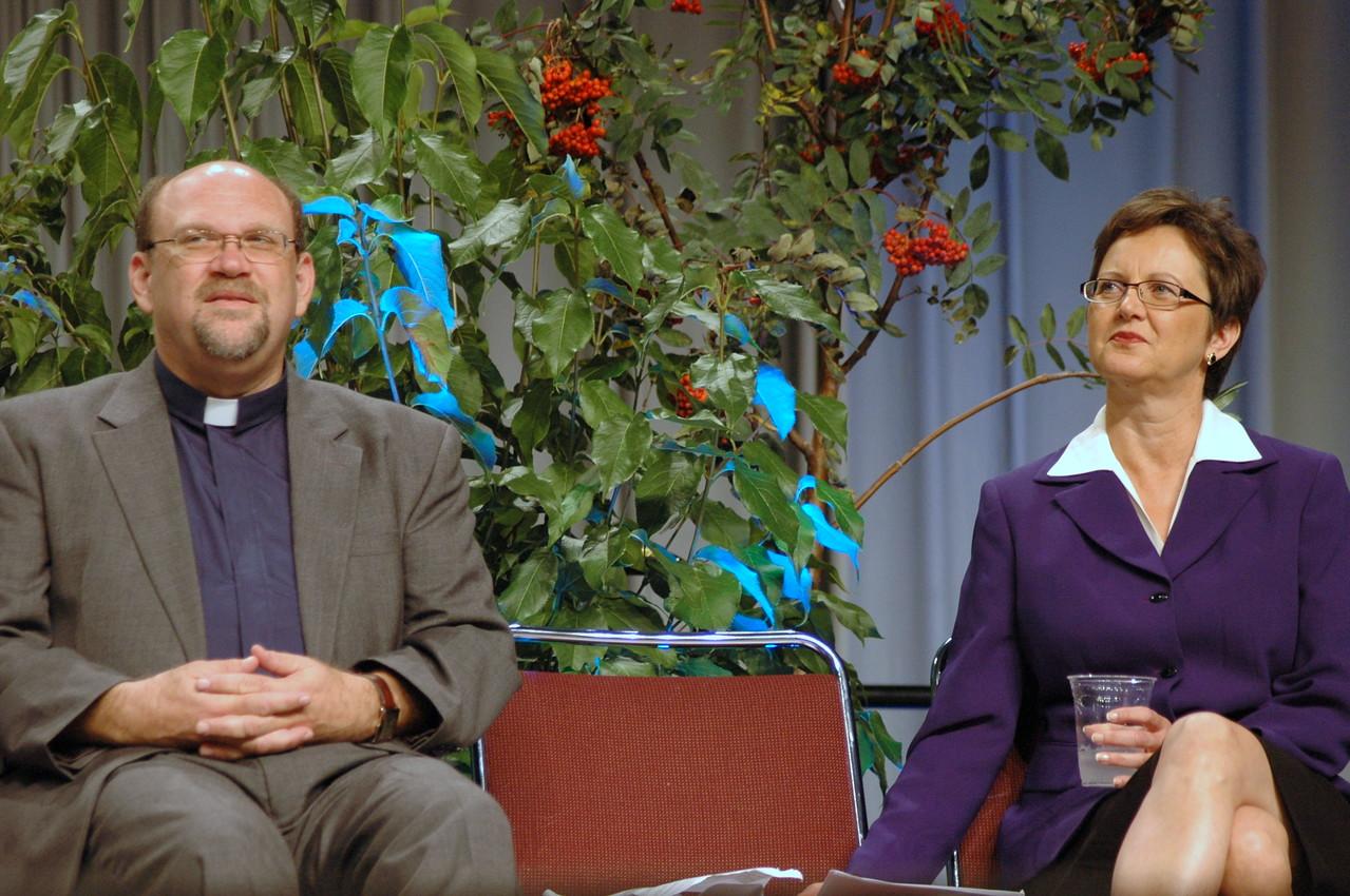 The Rev. Daniel Rift, director for the World Hunger Appeal, and Nancy Arnison, director for the World Hunger program