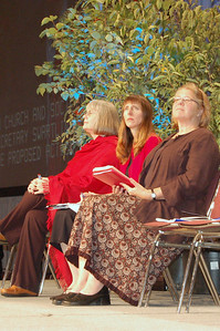 From left, the Rev. Rebecca Larson, executive director for Church in Society, Mary Streufert, director for justice for women.