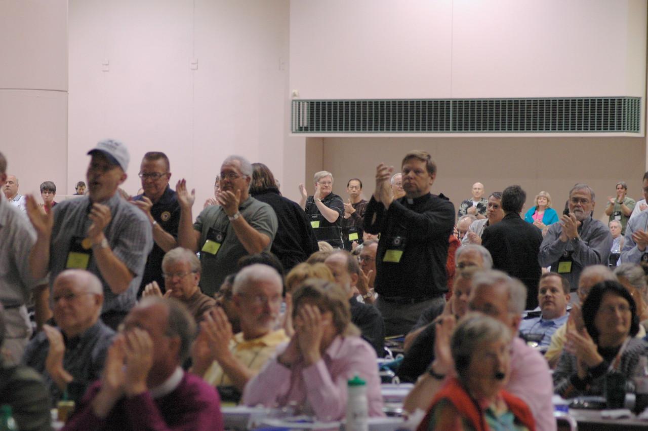 Voting members respond to the Rev. Gerald Kieshnick's remarks.