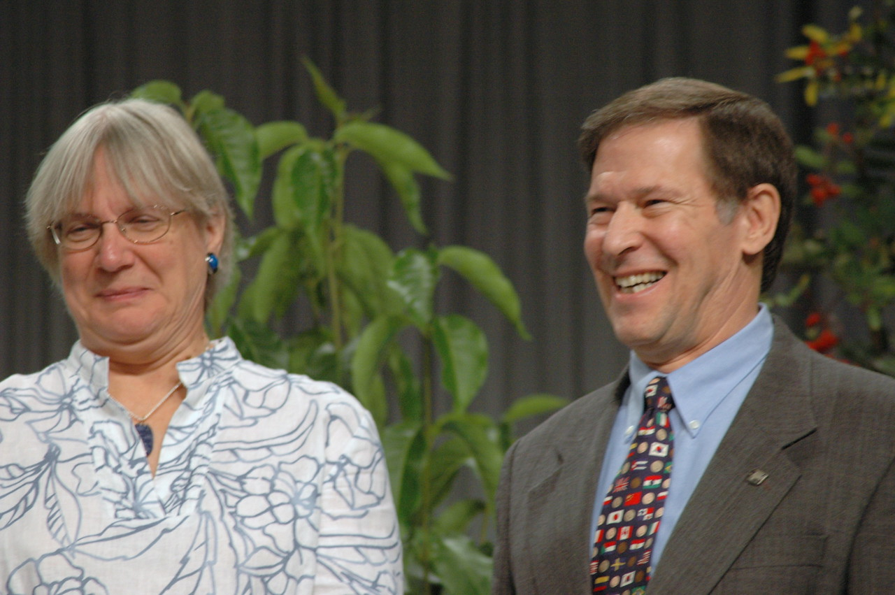 Retiring Lutheran Immigration and Refugree president, Ralston H. Deffenbaugh, Jr., with his wife being being thanked for his years of service.