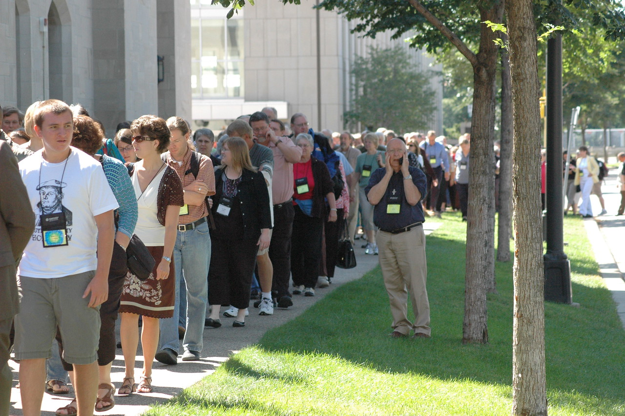Outside of Central Lutheran Church, Minneapolis, for Saturday's worship service.