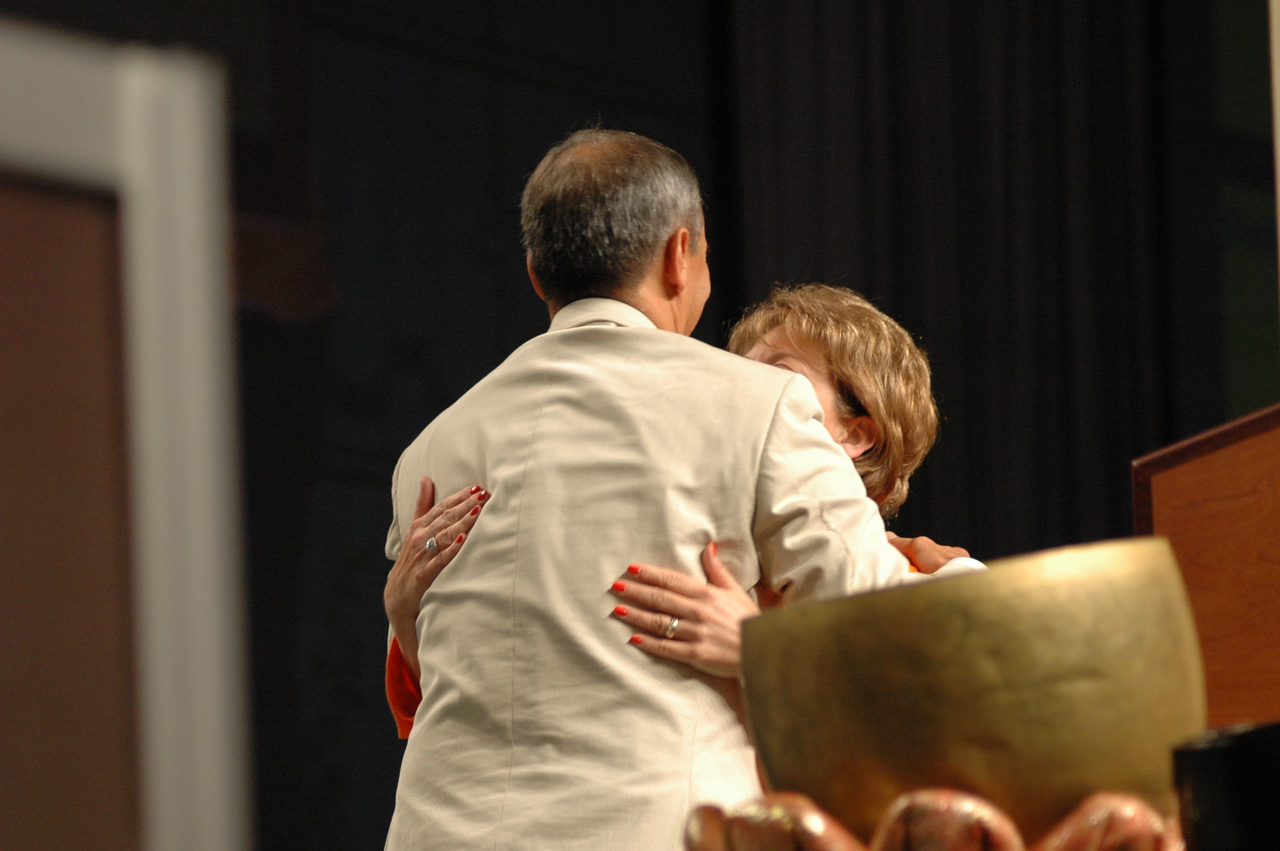 Carlos Pena hugs his wife, Diane, after being elected Vice-President of the Evangelical Lutheran Church in America.