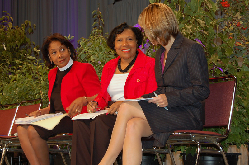 During the consideration of the ELCA biennial budget, from the left, the Rev. Dr. Wyvetta Bullock, executive for administration, Phyllis Wallace, chair of the ELCA Church Council Budget and Finance and Finance Committee, and Treasurer  Christina Jackson-Skelton.