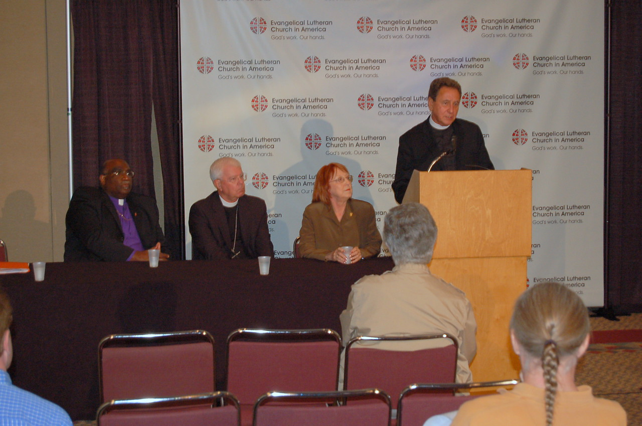 The Rev. Dan McCoid, executive, ELCA Ecumenical and Inter-Religious Relations, answers a question from a news media correspondent.