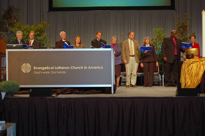 Lutherans and Methodists rise to sing a hymn beloved in both church bodies.