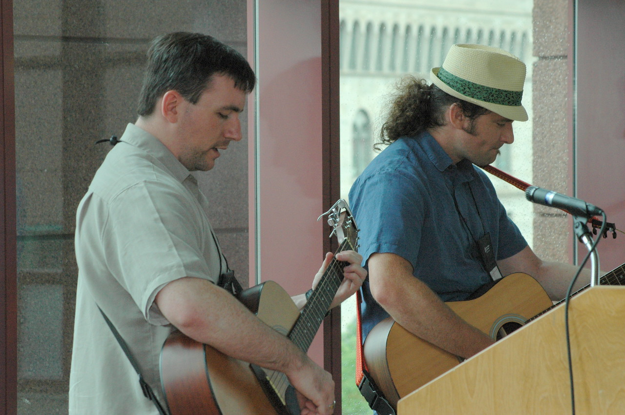 Musicians Chris Gaule and DJ Rasner.
