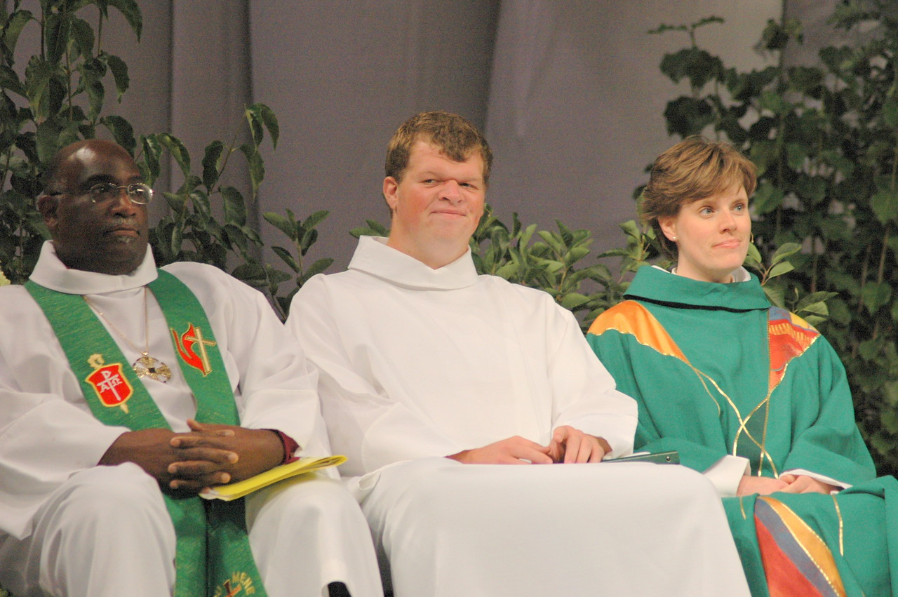 Thursday's worship leaders:  Bishop Gregory Palmer, Preacher; Assisting Minister and Lector, Will Esch; and Presiding Minister, Callista Isabelle.