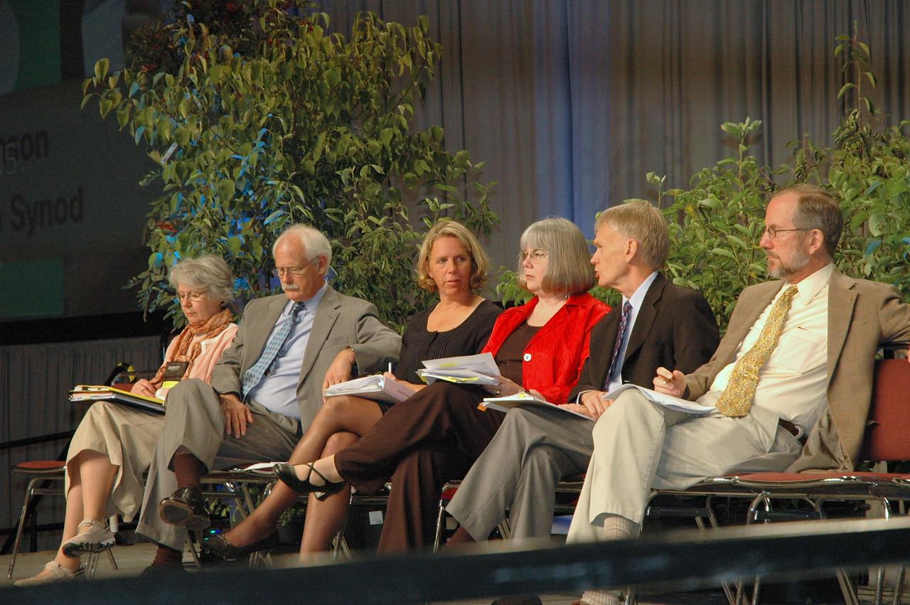 Dr. Diane Yeager, the Rev. Peter Strommen, the Rev. Kaari Reierson, the Rev. Rebecca Larson,  the Rev. Stan Olson, and Dr. Timothy  Wengert.