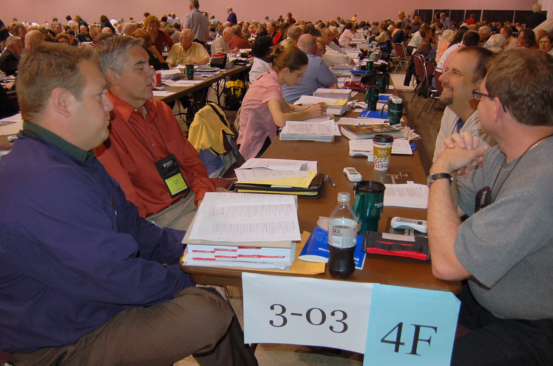 Voting members from the Texas-Louisiana Gulf Coast Synod discuss the reflection questions posed by Bishop Crist.