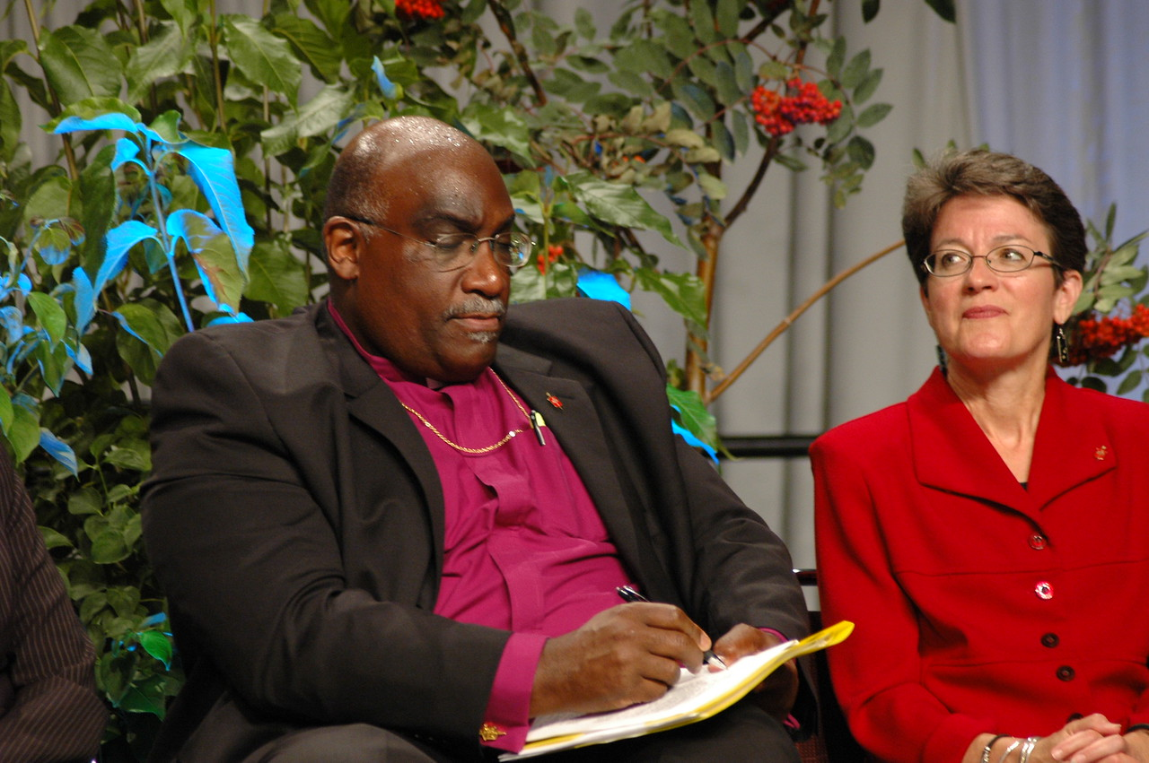 Bishop Gregory Palmer (President, Council of Bishops, United Methodist Church), and Bishop Sallya Dyck (United Methodist Church's North Central Jurisdiction, Episcopal are of Minnesota).
