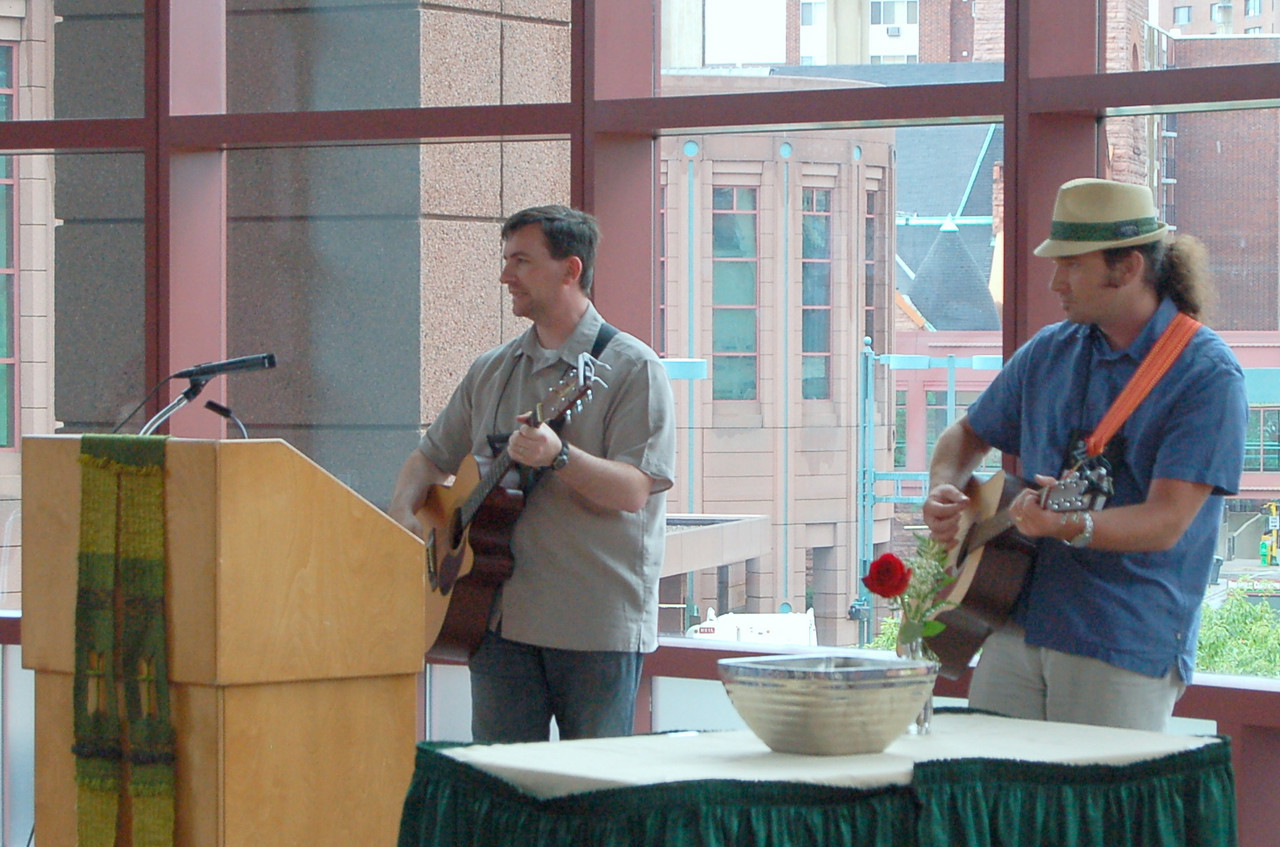 Chris Gaule of the Eastern North Dakota Synod and D.J. Rasner Northwest Wisconsin Synod entertain at the Affirming Young Leaders event.