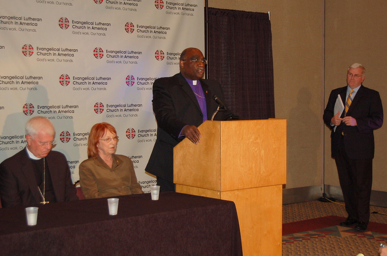 Bishop Gregory Palmer, president, Council of Bishops, United Methodist Church addresses the group and Web cast viewers.