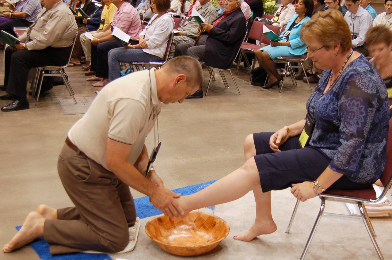 Foot washing at Thursday's worship service.