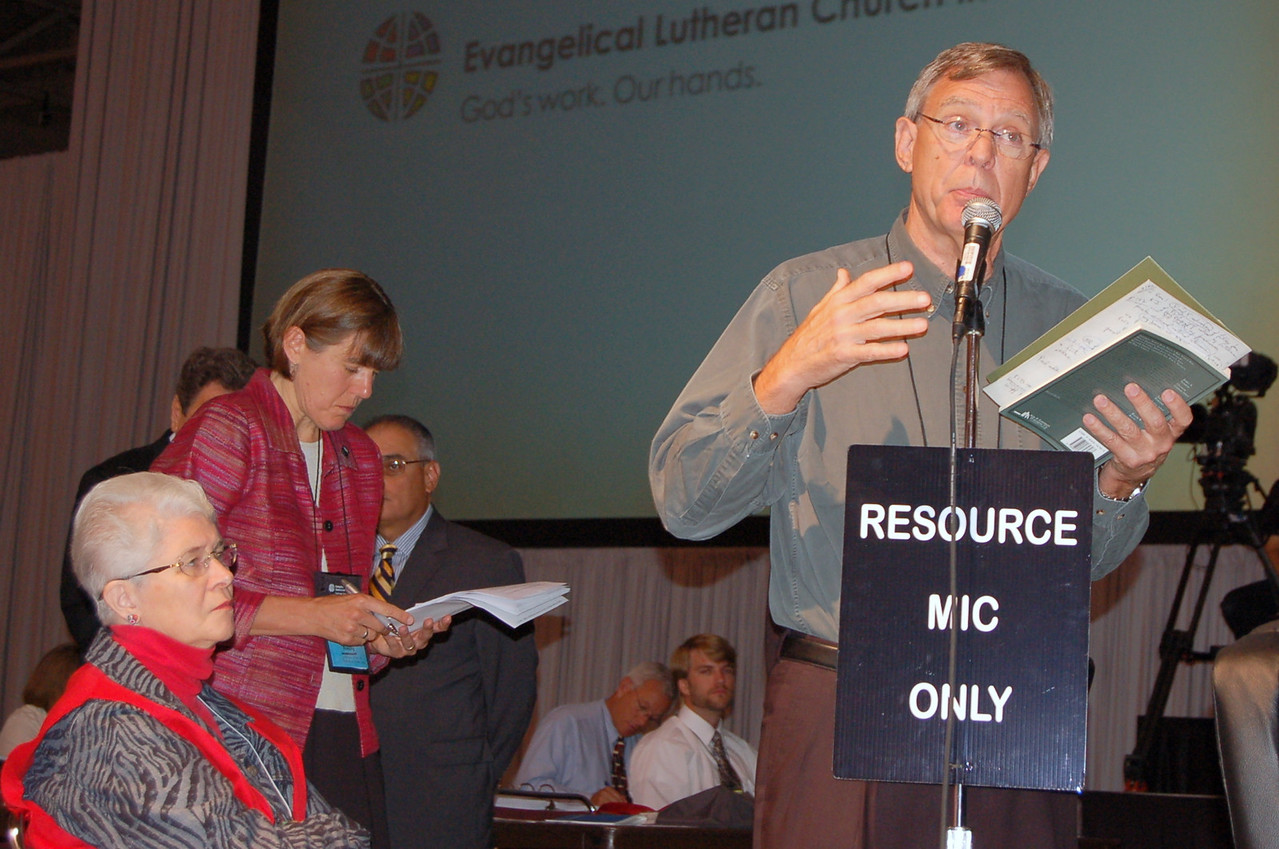 David Balch, Pacific Lutheran Theological Seminary, speaks as a resource to the plenary.