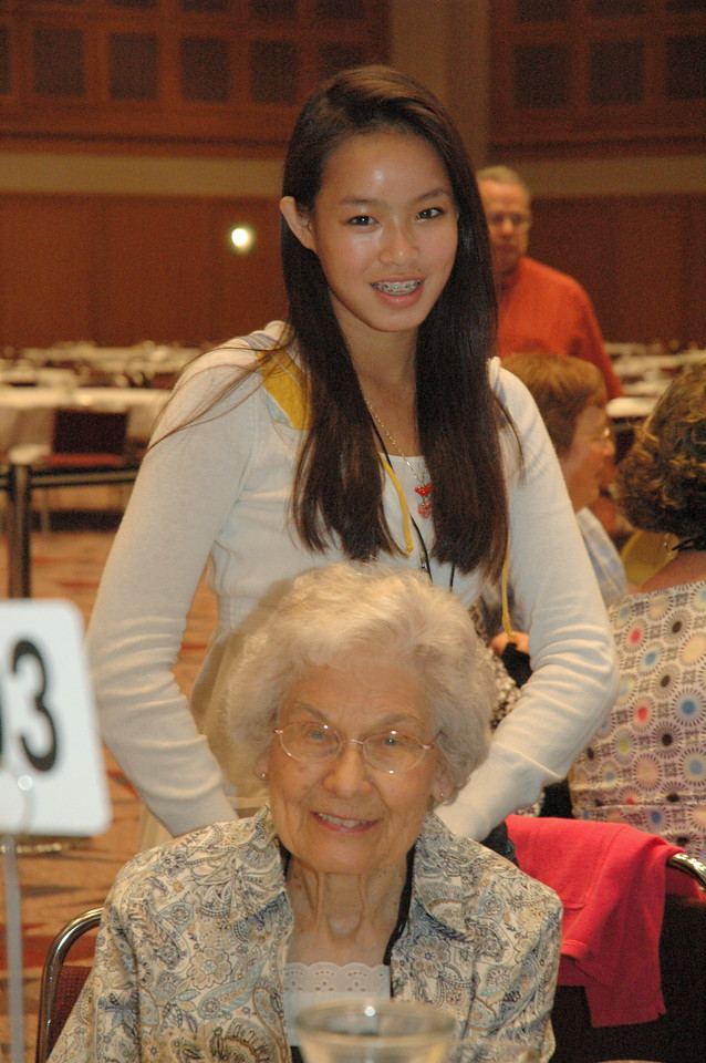 Oldest and youngest voting members, Phyllis Score and Mara Bakken pose for a picture.