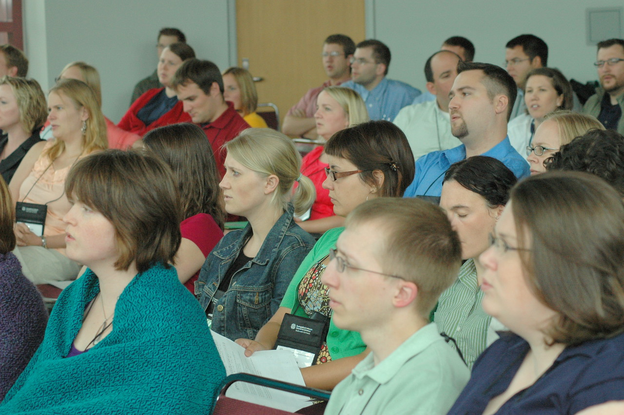 Young Rostered Leaders  listen to Bishop Mark Hanson after lunch on Thursday.