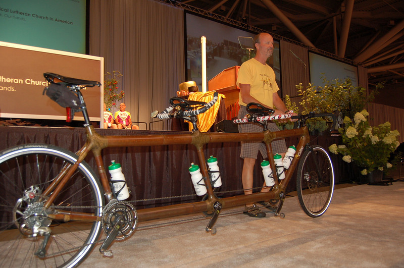 """The bamboo bicycle affectionately named """"Bob"""". The bicycle was custom-made for their journey."""