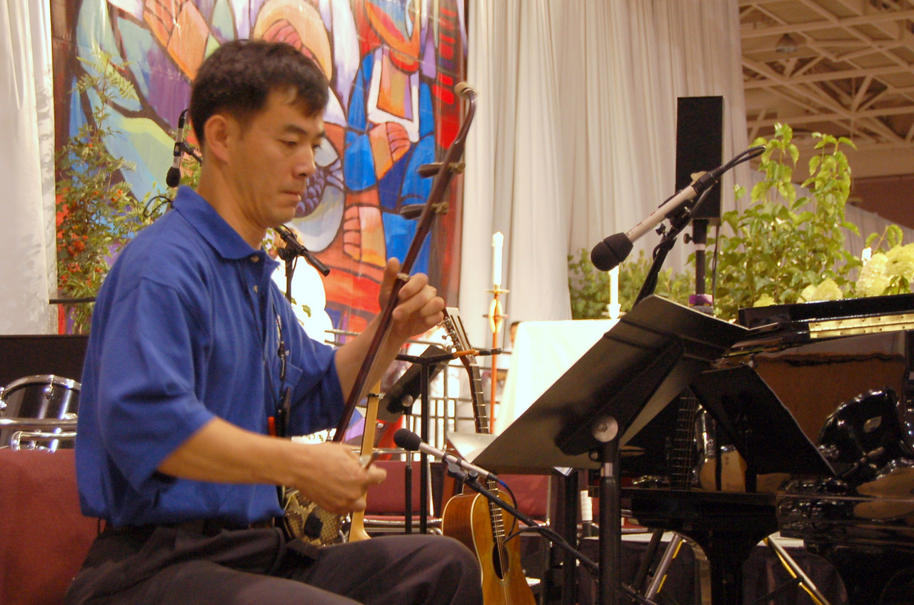 Performing with a kokyu.