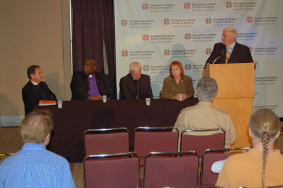 News conference on the assembly's vote to adopt the Full Communion agreement with the United Methodist Church.