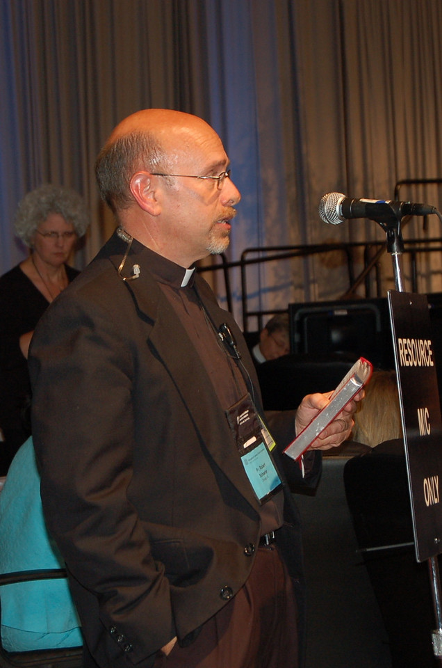 Pr. Robert Schaefer, executive, ELCA Worship and Liturgical Resources, speaks to an Implementing Resolution concerning worship resources for divorce.